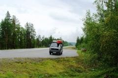 Finnland. Hier blieb in strömenden Regen der Motor stehen.