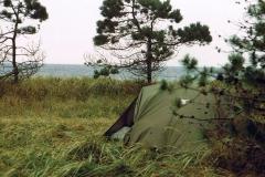 Mit Robin DR 300 D-EFLU auf der Insel Veirö, Lagerplatz am Waldrand